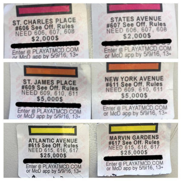 Missing Mcdonalds Monopoly Game Pieces