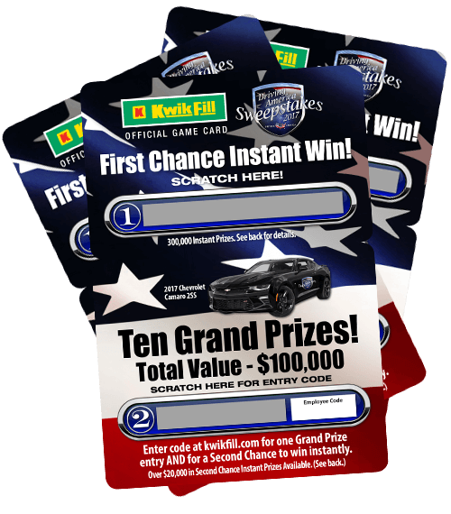 Kwik Fill Driving America Sweepstakes 2017 Game Cards