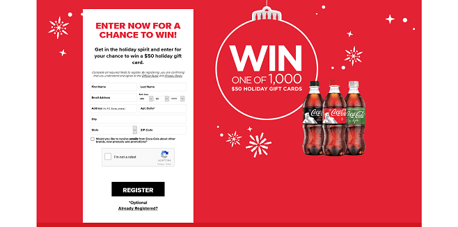 Coca-Cola Winner Wonderland Gift Card Giveaway
