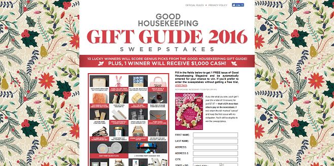 Good Housekeeping Holiday Gift Guide 2016 Sweepstakes