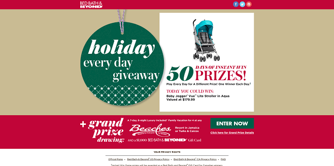 Bed Bath & Beyond Holiday Every Day Sweepstakes