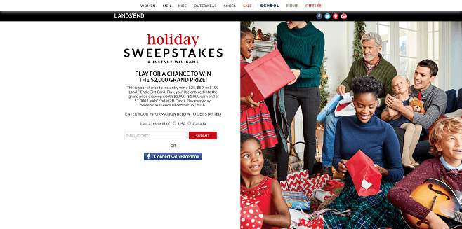 Lands End Holiday Sweepstakes