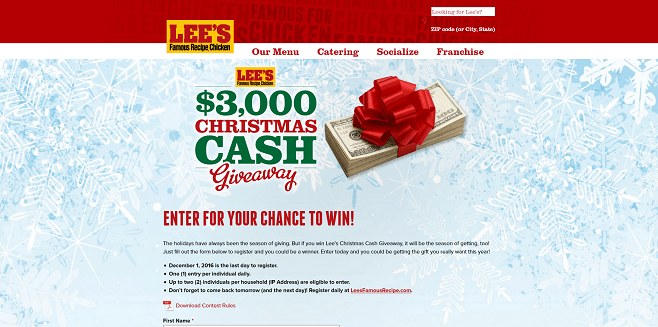 Lee's Famous Recipe Chicken Christmas Cash Giveaway