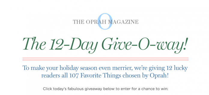 2018 Oprah 12 Days Give O Way Sweepstakes