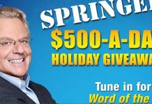 Jerry Springer's Word Of The Day For The Holiday Giveaway
