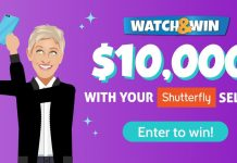 Shutterfly Watch & Win Contest