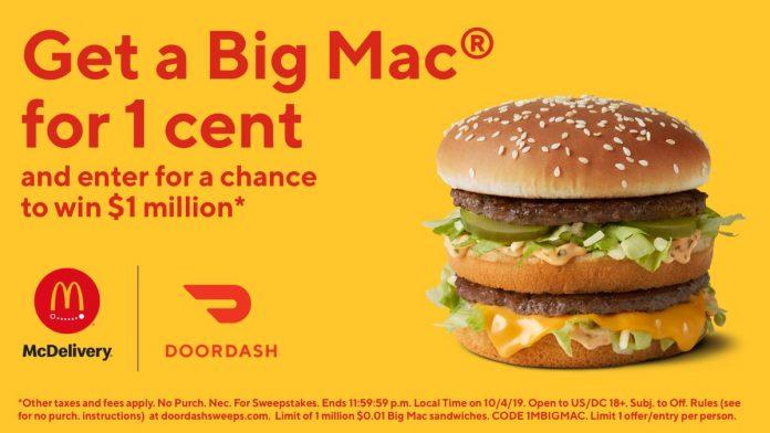 DoorDash 1 Cent Big Mac Promo And Sweepstakes at McDonald's