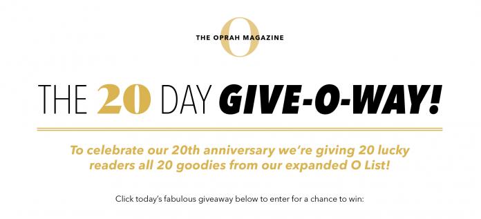Oprah Magazine 20 Days Sweepstakes 2020
