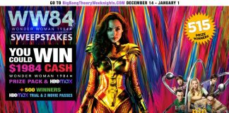 Bing Bang Theory Wonder Woman 1984 Sweepstakes 2020